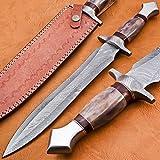 DK-4006 Handmade Damascus Steel 15.00 Inches Dagger Knife - Exotic Cammel Bone & Rose Wood Handle with Damascus steel Gurd & SteenLess Steel Pommel