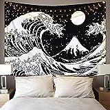Kanagawa - Arazzo da parete a onde giapponesi, motivo a onde grandi, con arazzi da sole, colore: bianco e nero