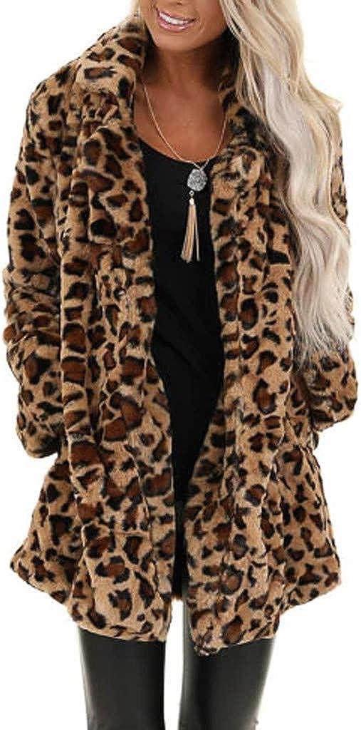 FIRERO Women's Leopard Faux Fur Pocket Fuzzy Warm Winter Oversized Outwear Long Coat