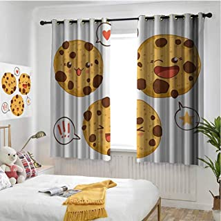 Kawaii Blackout curtains - gasket insulation Three Chocolate Chip Cookies with Different Expressions Japanese Inspirations Blackout curtains for the living room W72 x L84 Inch Brown Pale Brown