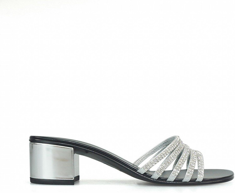 DHG DHG mit Groben Fersen Sandalen Mode Tragen mit Wort Flip-Flops,Silber,34