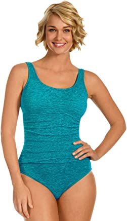 b44d27365b Krinkle Chlorine Resistant Aruba Shirred One Piece Swimsuit Size 10 Blue