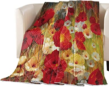 Quilted Comforter Coverlet Bed Comforter Retro Poppy Flower Floral Painting Style Red Yellow Microfiber Lightweight Bedspread