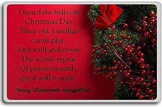 私はクリスマスの日に鐘を聞いた彼らのold.-ヘンリー・ワーズワース・ロングフェロー - クリスマス冷蔵庫用マグネット