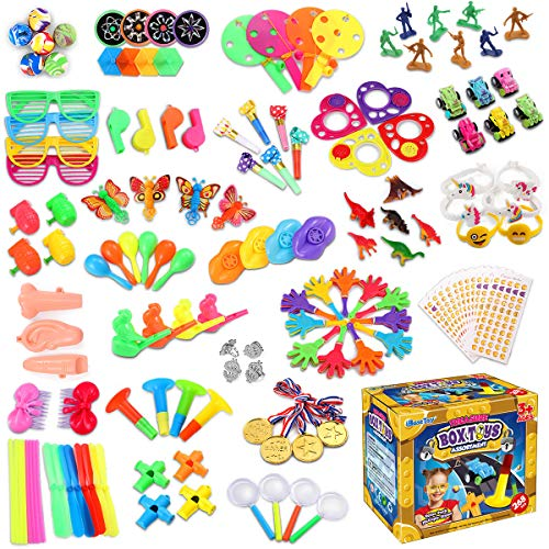 iBaseToy 268Pcs Carnival Prizes for Kids Classroom, Party Favor Toy Assortment, Prizes for Kids Party Games, Birthday Patry Favors for Boys Grils, Bulk Pinata Fillers Treasure Box Goodie Bag Fillers