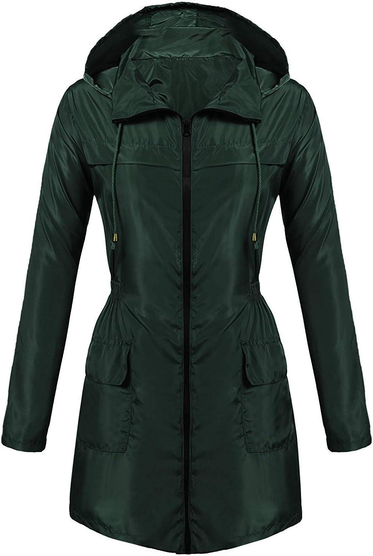Bemobeauty Women's Lightweight Waterproof Rain Jacket Outdoor Active Windbreaker Long Hooded Raincoat (SXXL)