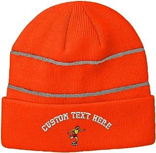 95951a197ef Custom Text Embroidered Soccer Boy Acrylic Reflective Stripes Beanie Skully  Neon Orange