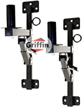 Premium PA Speakers Wall Mount Brackets By Griffin | Set Of 2 Professional All Steel Audio Speaker Holders | With Securing Locking Pin & 3 Horizontal Level Tilt Adjustments | 180 Lbs Weight Capacity