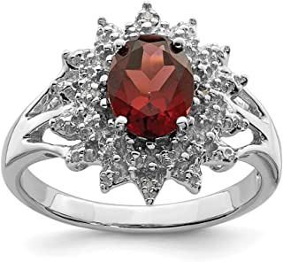 ICE CARATS 925 Sterling Silver Red Garnet Diamond Band Ring Size 6.00 Stone Gemstone Fine Jewelry Ideal Gifts For Women Gi...