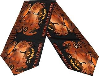 WIHVE Table Runner Halloween Night Pumpkins Moon Tablerunner for Catering Events Dinner Parties Wedding Holiday Indoor and Outdoor Decor 13 x 90 Inch