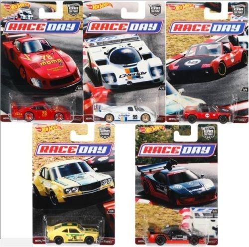 New 1:64 CAR CULTURE CAR CULTURE RACE DAYS CASE 'J' ASSORTMENT SET OF Diecast Model Car Set of 5 Cars By HotWheels