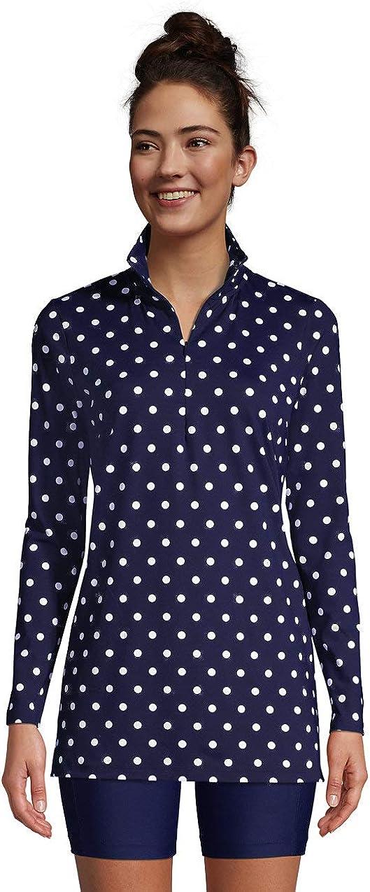 Lands' End Women's Quarter Zip Long Sleeve Tunic Rash Guard Cover-up UPF 50 Sun Protection