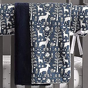 Liz and Roo Woodland Forest Minky Receiving Blanket, Navy