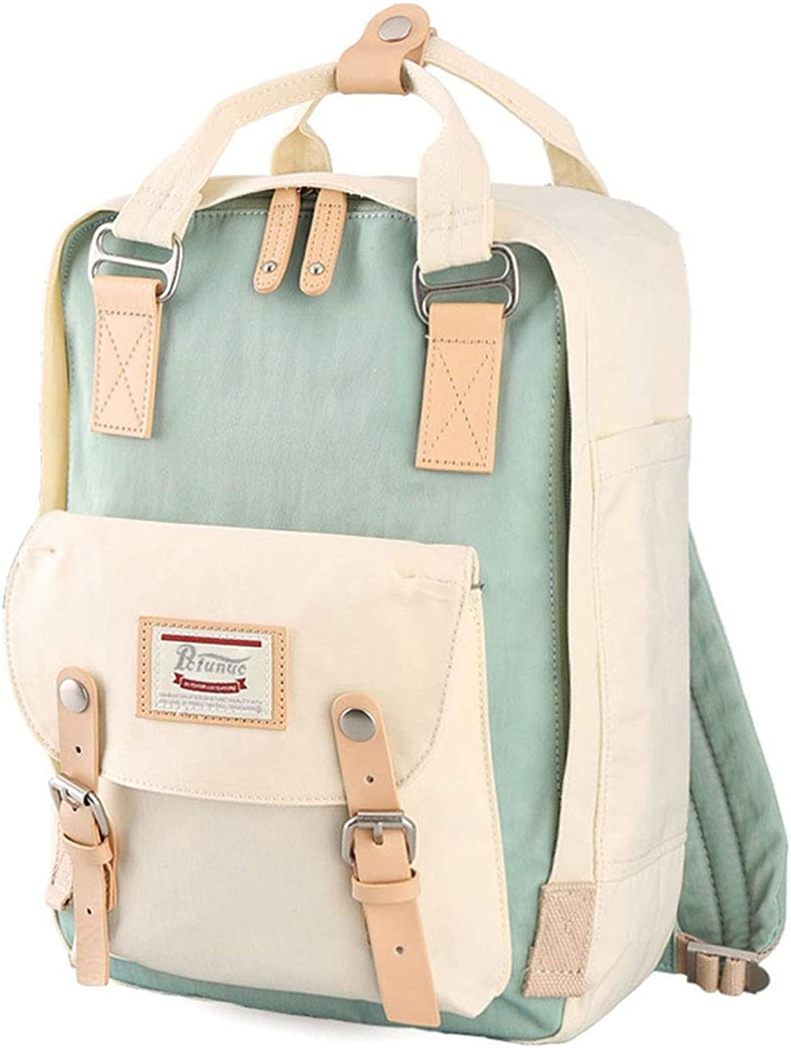 KANEED Laptop Backpack,Water Resistant Fashion Casual Travel Backpackage Laptop Bag Student Bag with Handle, Size  38  28  15cm(Ice blueee+Ivory) Trekking Rucksacks (color   color1)