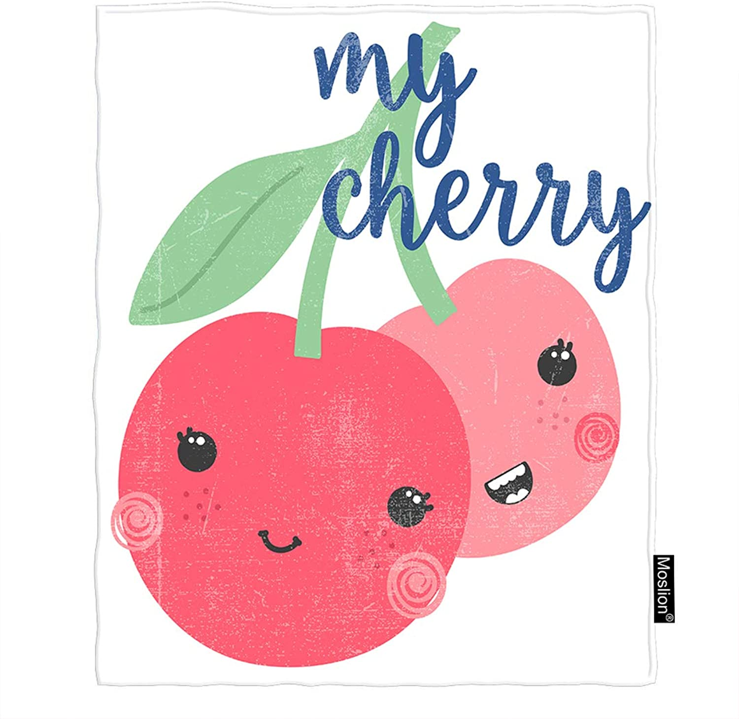 Moslion Cherry Blanket Cute Fruit Smiley Cherries Pink Flush Green Leaves Throw Blanket Flannel Home Decorative Soft Cozy Blankets 60x80 Inch for Adults Kids Sofa