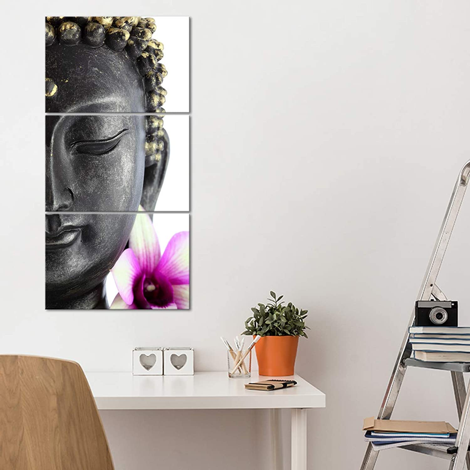 "Enlightened Buddha Canvas Wall Art - Ready to Hang - Buddhist Decor Picture with Buddha Head Statue - Large Print for Home Office, Living Room, Bedroom, Kitchen - Made in USA - 3 Piece 37"" x 18"""