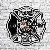 WJUNM Día Orgulloso de ser irlandés, Reloj de Pared con Citas, Reloj de Vinilo Retro, Reloj con Hoja de trébol irlandés, Arte de Pared, decoración Infantil