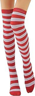 Calcetines altos hasta la rodilla para mujer, a rayas, muslo, calcetines largos, para niñas, calcetines de algodón, un par