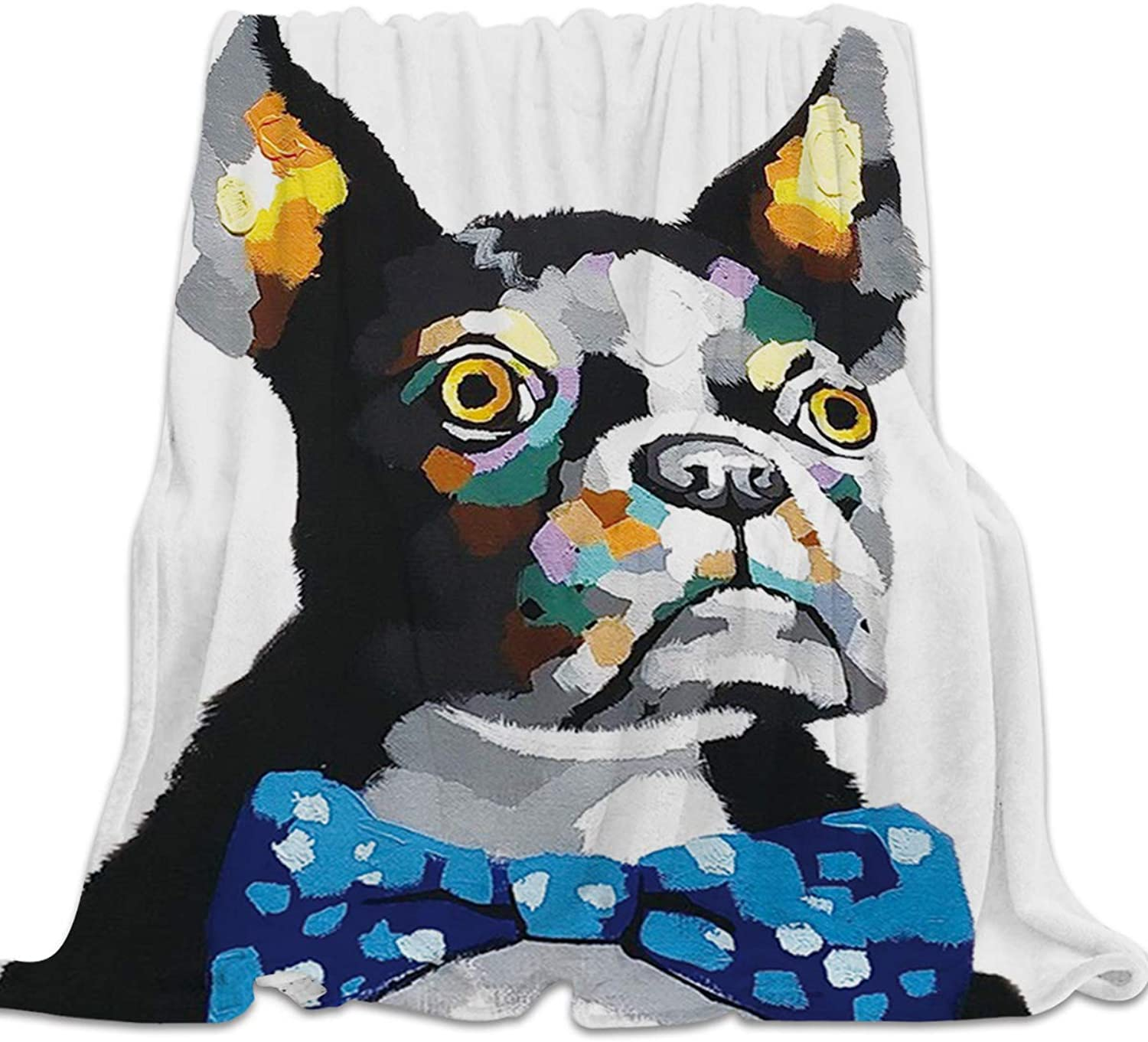 YEHO Art Gallery Flannel Fleece Bed Blanket Super Soft Cozy ThrowBlankets for Kids Girls Boys,Lightweight Blankets for Bed Sofa Couch Chair Day Nap,Hand Painting Dog Boston Terrier Pattern,49x59inch