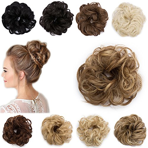 Extension Capelli Finti Chignon Elastico Hair Bun Scrunchie Coda Capelli Ricci Messy Curly Updo 30g Castano Chiaro & Biondo Cenere