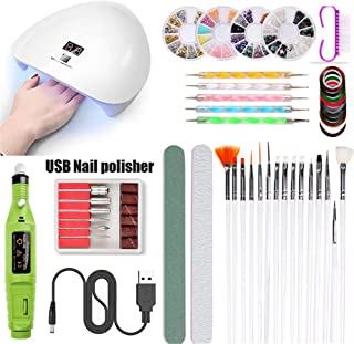 45W USB Smart Sensor Nail Lamp UV Phototherapy Lamp Professional Nail Polisher Nail Art Paste Drill Tool kit,Green