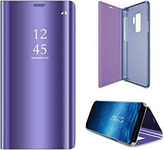 Galaxy S9 Plus Case, Translucent View Mirror Flip Electroplate Stand Case for Samsung Galaxy S9plus (Violet)
