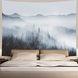 Heopapin Misty Forest Tapestry Forest Trees with Mountain Tapestry Black and White Fantastic Fog Magical Tapestry 3D Vision Nature Landscape Tapestry for Bedroom Living Room Dorm (W59.1 × H51.2)