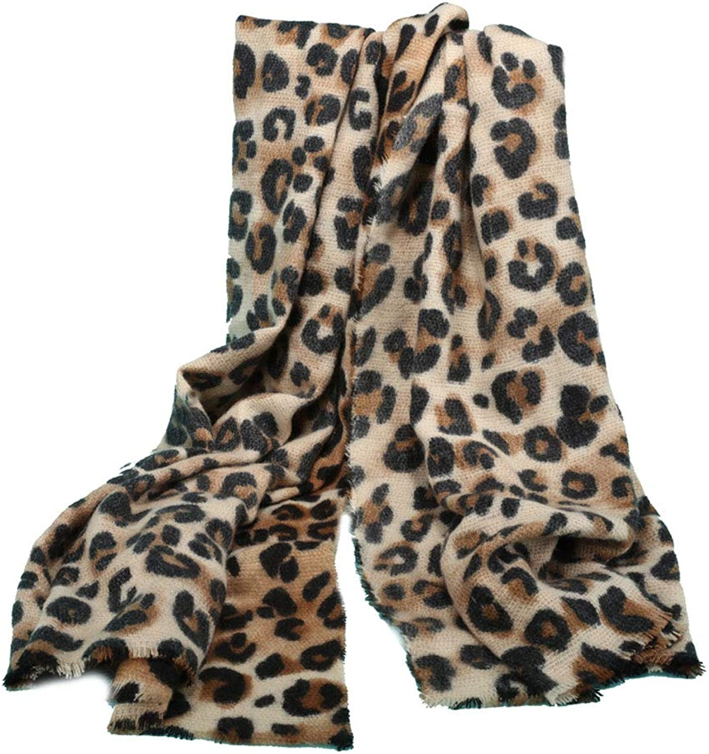 Soft and Fashionable Leopard Imitation Cashmere scarf Female Winter Warm Long Shawl Student Collar (color   color 1)