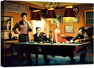 James Dean Elvis Marilyn Monroe Billiards Snooker Wall Art Picture Canvas Painting Modern Prints Poster Artwork Home Decor for Living Room Office Coffee Bar Stretched Framed Ready to Hang (18