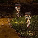 wuuhoo® I LED Solar Garten-Fackel Nahla in Kegelform aus Metall I Dekoratives Licht für Garten, Terrasse und Wege mit Dämmerungssensor I Wetterfest IP44 wassergeschützt I Deko für Außen 2 Stk.