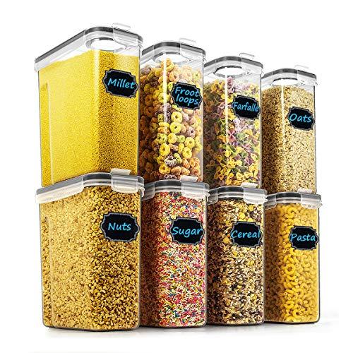 Wildone Frischhaltedosen für Müsli & Trockenfutter, luftdicht, für Müsli, Mehl, Snack, Backbedarf, auslaufsicher, mit schwarzen Verschlussdeckeln