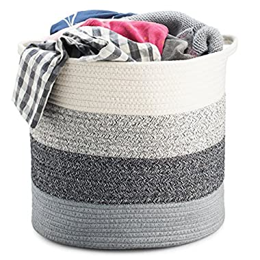 Storage Basket - Cotton Rope Storage Baskets Fold-able with Handles, 15 x15 x13 , Decorative Color Design, Perfect Organizer for Toy Storage, Nursery Storage and Laundry Basket - Large, Gray Heather