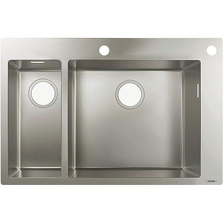 Hansgrohe 43310800 Fregadero de encastre, 18, armarios de 80 cm, Color Acero, Plata, Ancho: 18 cm y 45 cm