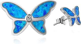 Chrismas Gift Sterling Silver Created Blue Opal Butterfly/Lizard Gecko Lizard Stud Earrings Cute Small October Birthstone Fine Jewelry Gift for Women Girls