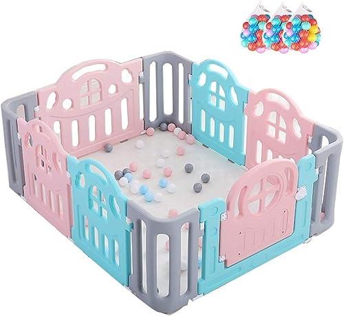 Größer Indoor- Und Outdoor-Babyspielzaun Mit 90 Marineb en - 10 Felder Baby-Sicherheitsspiel-Aktivit center - Tragbarer Raumteiler Kind Kinder Barriere (150X129X6cm)