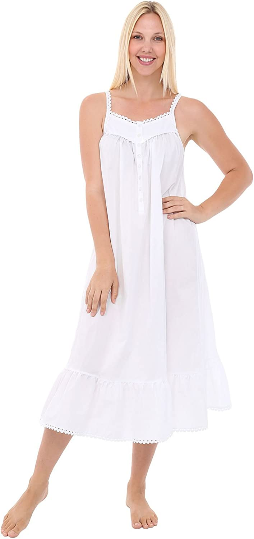 Alexander Del Rossa Womens Anna Cotton Nightgown, Sleeveless Victorian Sleepwear