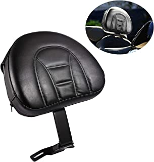 INNOGLOW Motorcycle Adjustable Driver Rider Backrest Black PU Kits W/Pocket for Harley Heritage Softail Fatboy 2007-2019