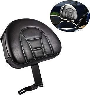 INNOGLOW Motorcycle Adjustable Driver Rider Backrest Black PU Kits W/Pocket for Harley Heritage Softail Fatboy 2007-2017