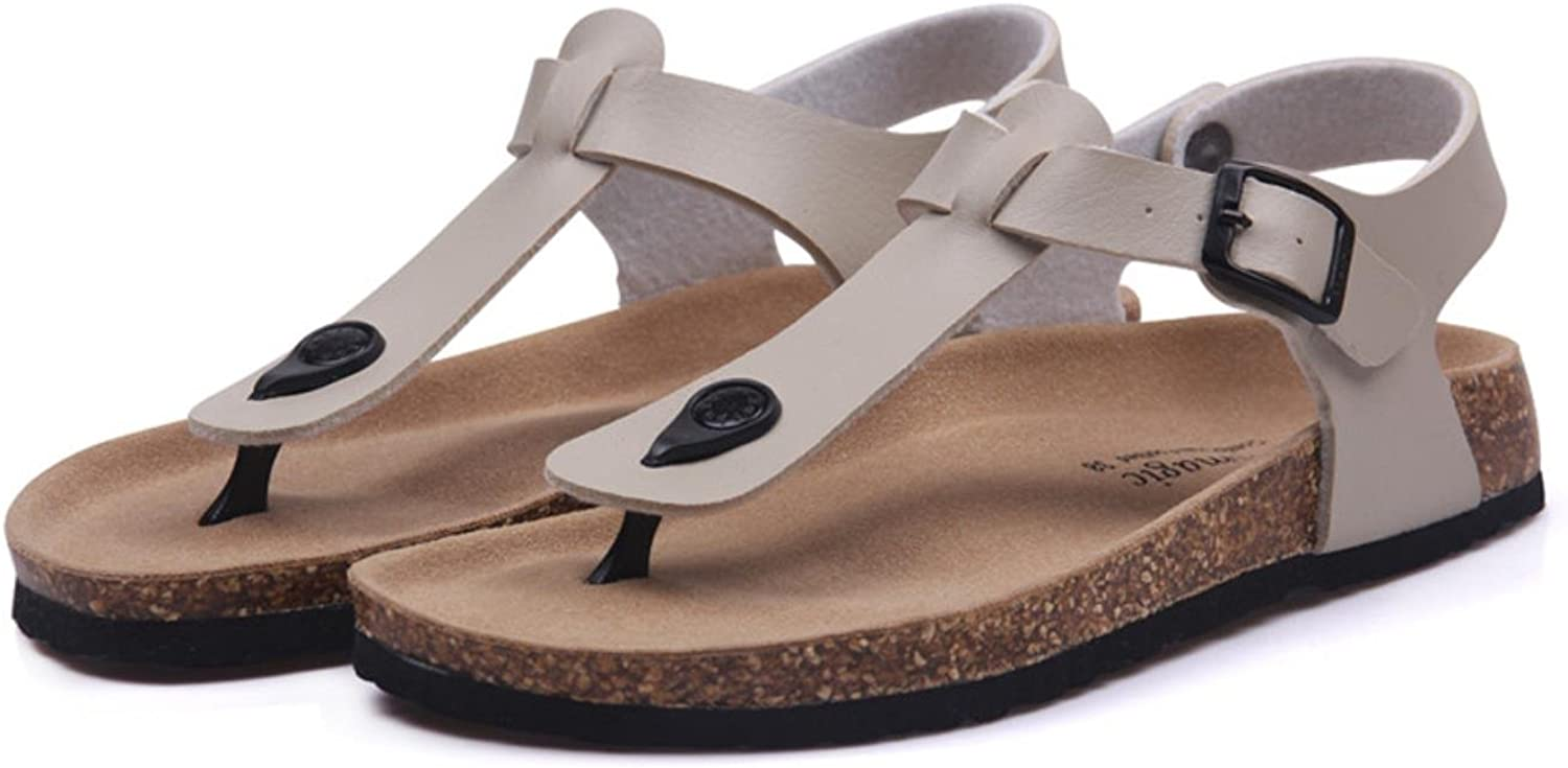 Fashion Cork Sandals New Women Summer Buckle Strap Solid Beach Slipper