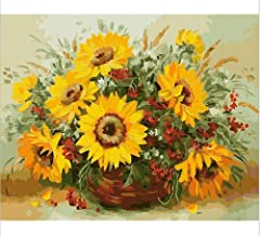 DIY Oil Painting for Adult Kids Yellow Sunflower Vase - Paint by Numbers Kit (Without Frame, 16x20 Inches)
