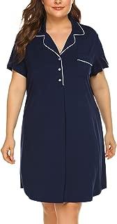 IN'VOLAND Women's Plus Size Nightgowns Short Sleeve Pajama Dress V Neck Button Down with Pocket Boyfriend Nightshirt