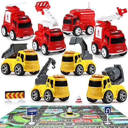 Geyiie LKW Spielzeugautos Auto Spielzeug Set Modell Autospiegel Baby Aufziehautos Spielsachen Aufzieh Druckgussautors für Jungen Mädchen Kinder Geschenk ab 1 2 3 Jahre Spielset 7er Set mit Zubehöres