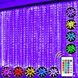 Curtain String Light, Window Curtain Lights 16 Color 4 Modes Shows with Remote & Timer, 300 RGB USB Powered Waterproof Fairy Twinkle Lights for Wedding Party Garden Bedroom Outdoor Wall Decoration