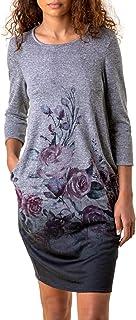 Roman Originals Women Ombre Shift Dress with Pockets Ladies Textured Gradient Pattern Cotton Tunic 3/4 Sleeve Work Formal ...