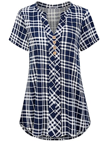 MOQIVGI Ladies Tops,Plaid Print Tee Blouse Split V Neck Pretty Roomy Breathable Comfort Short Sleeve Checker Pattern Modern Fit Polyester Stretchy Shirt Woman Daily Wear Clothing Blue White Large
