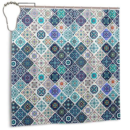 DIYAB Azulejos de Mosaico de Azulejos Mezclados históricos portugueses con Motivos de cerámica marroquí, Cortina de Ducha para decoración del hogar 72inX72in