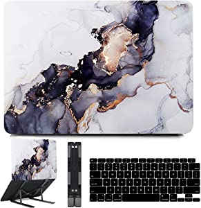 B BELK Compatible with MacBook Air 13 inch Case 2020 2019 2018 Release M1 A2337 A2179 A1932 with Touch ID, Plastic Hard Shell Case + Keyboard Cover + Black Laptop Stand, MacBook Air 2020 Case, Marble