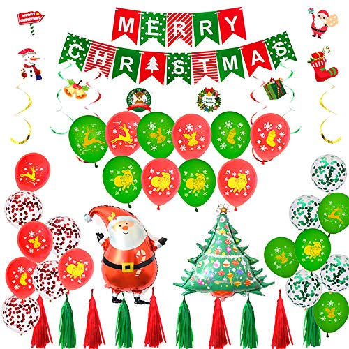 Gxhong Palloncini Natale Kit Merry Christmas Banner Buon Natale Decorazioni Palloncini Lattice Compleanno Natale Forniture Babbo Natale Albero di Natale Rosso e Verde Balloons
