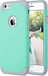 ULAK iPhone 6S Case Mint Green, iPhone 6 Case, Slim Dual Layer Soft Silicone & Hard..