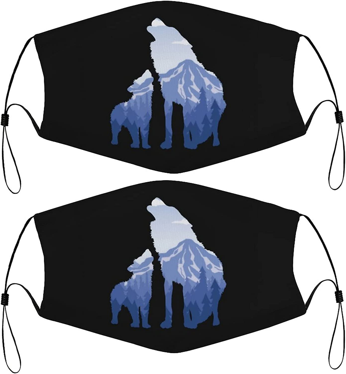 Wolf Silhouette Kids Face Masks Set of 2 with 4 Filters Washable Reusable Breathable Black Cloth Bandanas Scarf for Unisex Boys Girls